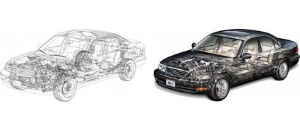 Automotive Cutaway / See-Through Car